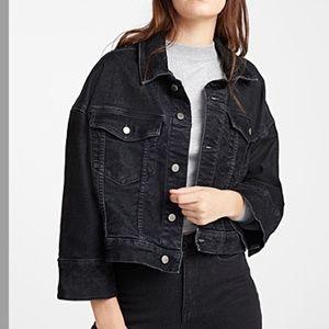 Black corduroy button up oversized jacket NWOT